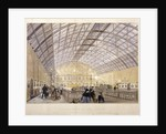 Interior of Charing Cross Station showing trains and the iron roof, London by Kell Brothers