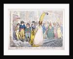 Five fashionably dressed men advance along Old Bond Street, Westminster, London by James Gillray