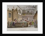 Interior view of the College of Arms' Hall with figures engaged in discussion, City of London by Augustus Charles Pugin