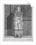 Ornate water pump in the yard at Leathersellers' Hall, Little St Helen's, City of London by John Thomas Smith