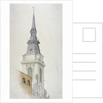View of the tower and spire of St Martin within Ludgate, City of London by