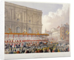 Royal procession passing the east end of St Paul's Cathedral, City of London by