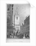 Church of St Stephen Walbrook from the corner of Mansion House, City of London by R Acon