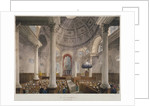 Interior of the Church of St Stephen Walbrook during a service, City of London by Augustus Charles Pugin