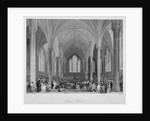 Interior of Temple Church during a service, City of London by