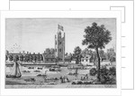 North view of St Mary's Church, Battersea from across the Thames, London by