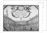 Interior view of the Royal Exchange filled with figures, City of London by