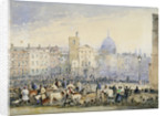 View of Smithfield Market with figures and animals, City of London by