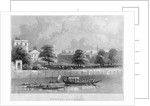 View of Temple Gardens from the Thames with boats on the river, City of London by Anonymous
