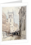 View of All Hallows Church, buildings and figures on Bread Street, City of London by Thomas Colman Dibdin