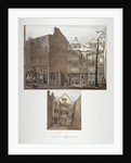Two views of 17th century houses in Little Bell Alley, City of London by Robert Blemmell Schnebbelie