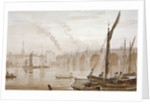 View of Blackfriars Bridge from the Surrey shore, with boats in the foreground, London by