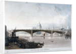 View of 'Southwark Iron Bridge' from Bankside, London by Thomas Sutherland