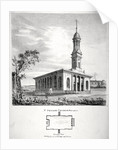 View and ground plan of the Church of St Peter Newington, Southwark, London by P Simonau