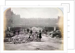 View of figures on Holborn Viaduct during its construction, City of London by Henry Dixon