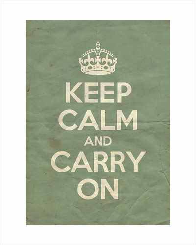 Keep Calm And Carry On Poster in Green Blue Vintage by Magnolia Box