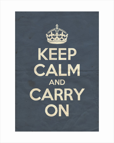 Keep Calm And Carry On Poster in Pinch Blue Vintage by Magnolia Box