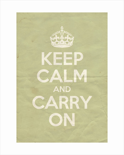 Keep Calm And Carry On Poster in Green Ground Vintage by Magnolia Box