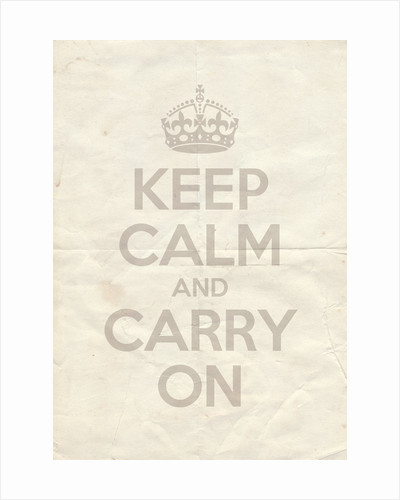 Keep Calm And Carry On Poster in Great White Vintage Reversed by Magnolia Box