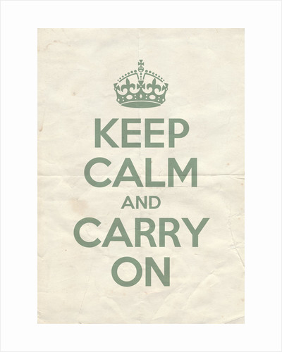 Keep Calm And Carry On Poster in Green Blue Vintage Reversed by Magnolia Box