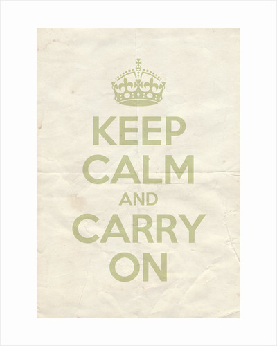 Keep Calm And Carry On Poster in Green Ground Vintage Reversed by Magnolia Box