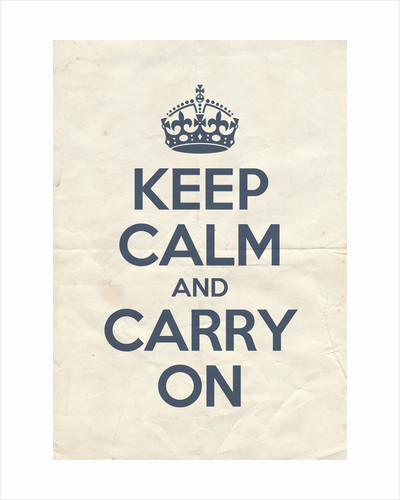 Keep Calm And Carry On Poster in Pinch Blue Vintage Reversed by Magnolia Box