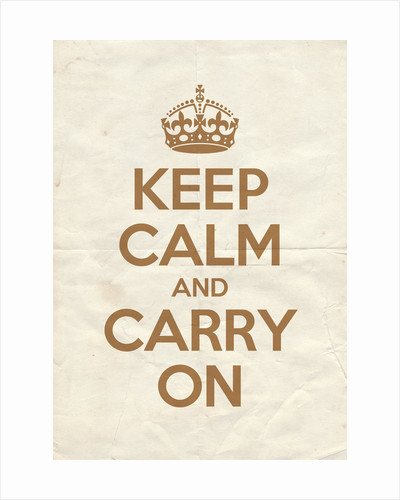 Keep Calm And Carry On Poster in Sand Vintage Reversed by Magnolia Box