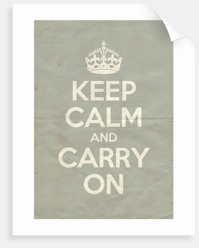 Keep Calm And Carry On Poster in Skylight Vintage