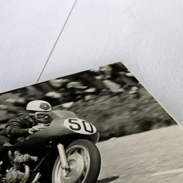 Geoff Duke, aboard a 500cc Gilera, number 50, 1955 TT (Tourist Trophy) by T.M. Badger