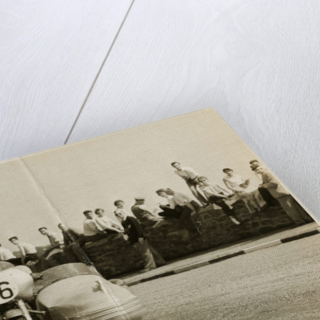 Eric Oliver, driving sidecar outift (number 16), 1958 Sidecar TT (Tourist Trophy) by T.M. Badger