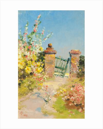 Garden Gate with Hollyhocks by John Miller Nicholson