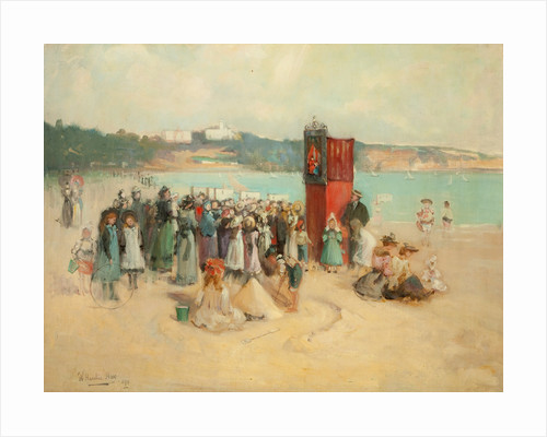 On the Beach at Douglas by Hardie William Hay