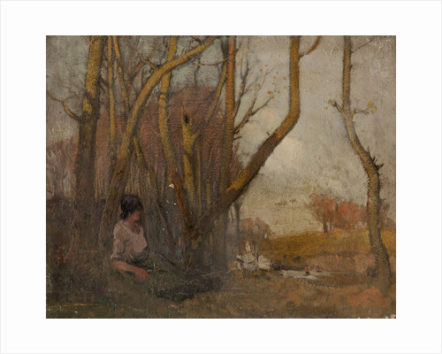 Autumnal landscape with woman and geese by William Hoggatt