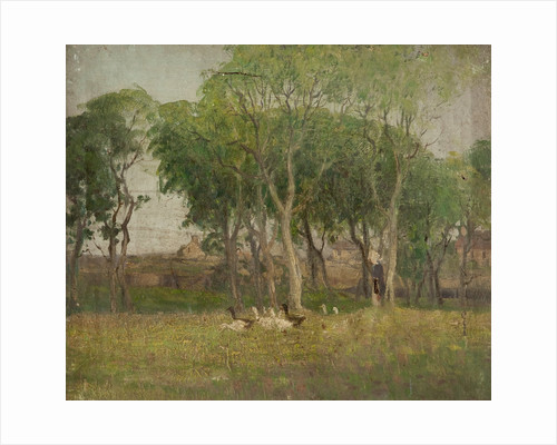 Landscape with woman and geese by William Hoggatt