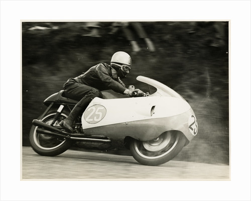 Bob Brown, TT (Tourist Trophy) rider, riding as number 25 by T.M. Badger