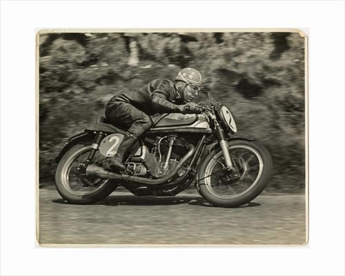 Nick Nicholson, TT (Tourist Trophy) riding Norton (number 2), 1953 (?) Senior TT by T.M. Badger