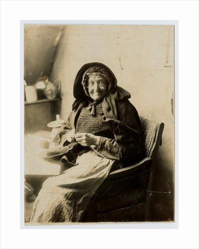 Mrs Morrison of Ballaugh Glen sitting knitting by George Bellett Cowen