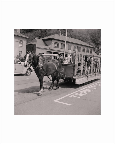 Mr & Mrs King on horse tram, Tourist Board by Manx Press Pictures