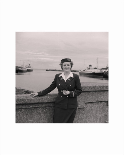 Woman in Isle of Man Steam Packet Company uniform by Manx Press Pictures