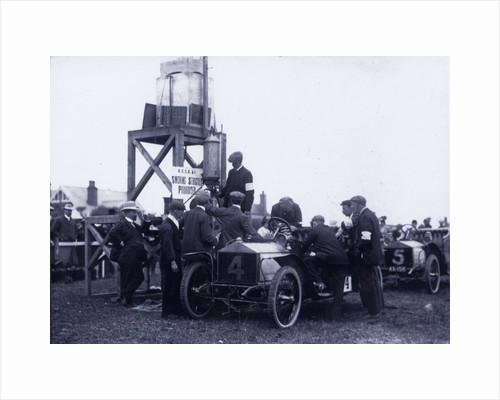 Motorcar no.4 Hon. Charles Rolls in a Rolls Royce, pre-race fuelling, 1906 Tourist Trophy motorcar race, Isle of Man by Unknown