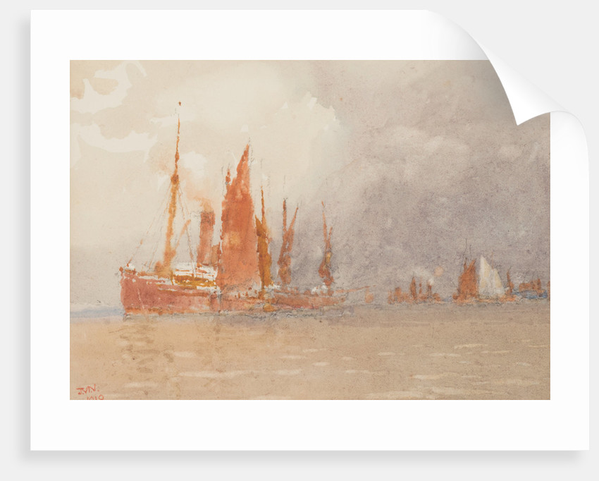 Sailing boats tied up to a steamer by John Miller Nicholson