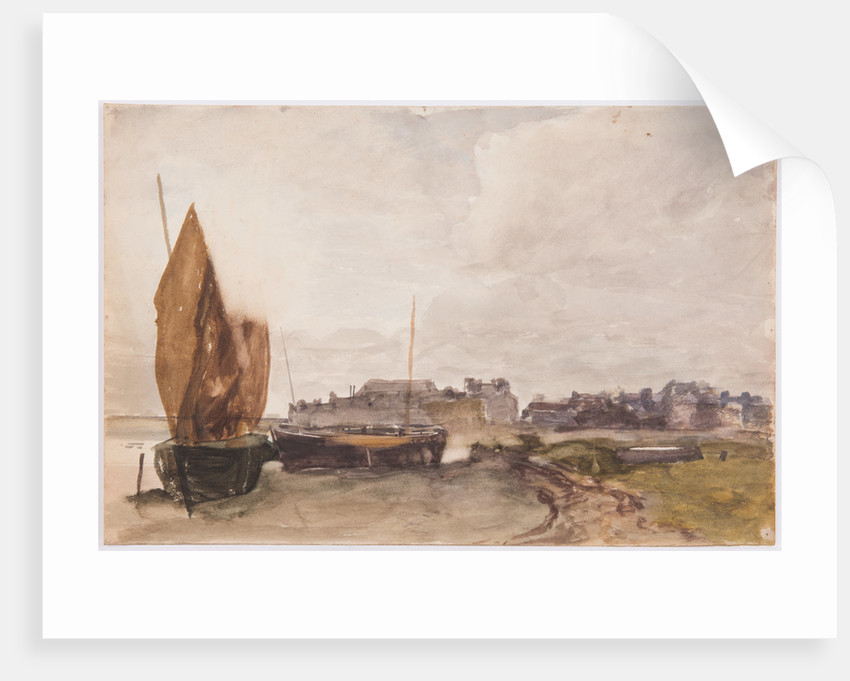 Boats hauled upon beach by John Miller Nicholson