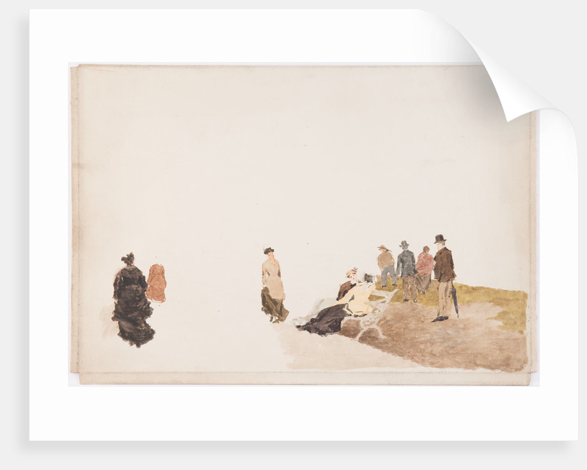 Figures on beach by John Miller Nicholson