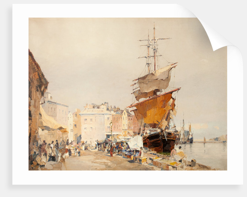 The old fish market and Douglas harbour by John Miller Nicholson