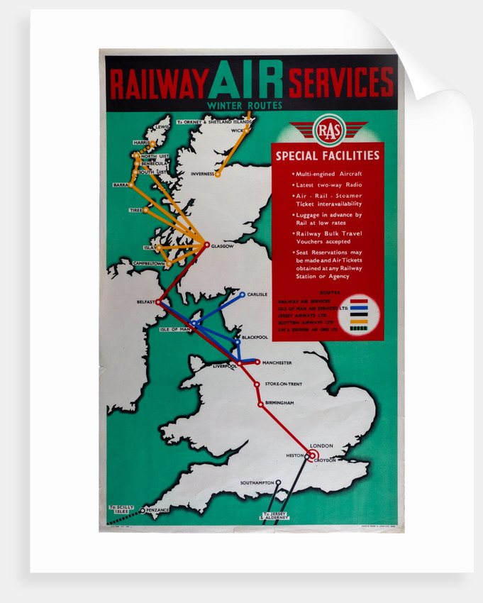Railway Air Services Winter Routes by Railway Air Services Ltd.