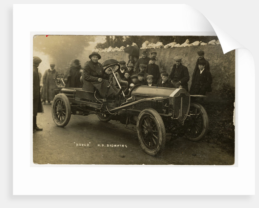 H.B. Browning in a Rover, 1908 Tourist Trophy motorcar race by Anonymous