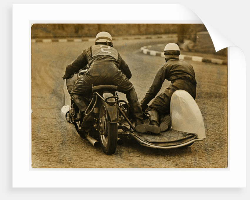 Fritz Hillebrand, riding as number 2, 1956 Sidecar TT (Tourist Trophy) by T.M. Badger