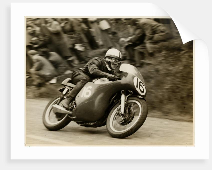 Derek Minter aboard Norton (number 16) 1958 Senior TT (Tourist Trophy)