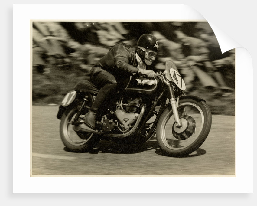 TT (Tourist Trophy) rider Cook from New Zealand aboard Moto Guzzi (number 47) by T.M. Badger