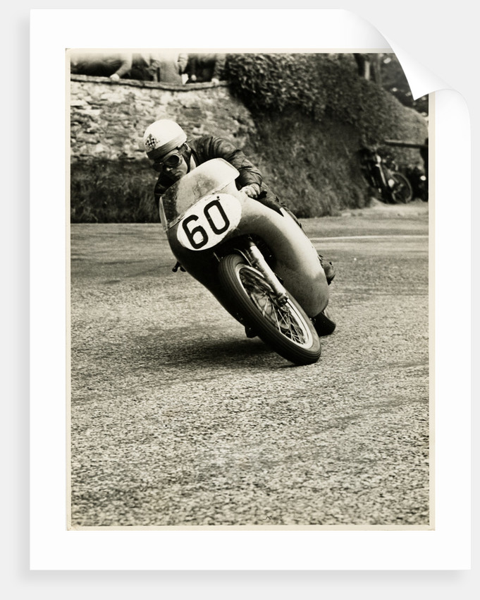 Eric Hinton, TT (Tourist Trophy) rider, riding 500cc Norton (number 60) by T.M. Badger